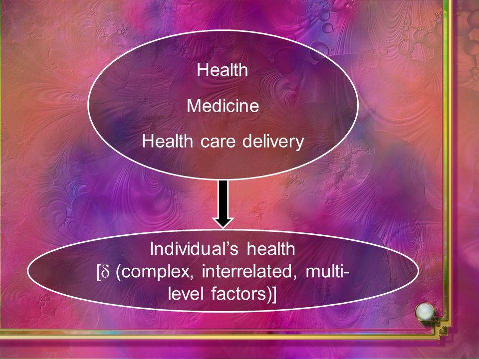 Health Medicine Health care delivery Individuals health [ (complex, interrelated, multi- level factors)]