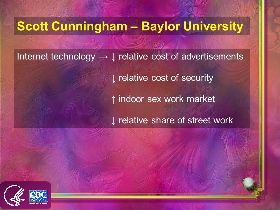 Scott Cunningham – Baylor University Internet technology relative cost of advertisements relative cost of security indoor sex work market relative share of street work