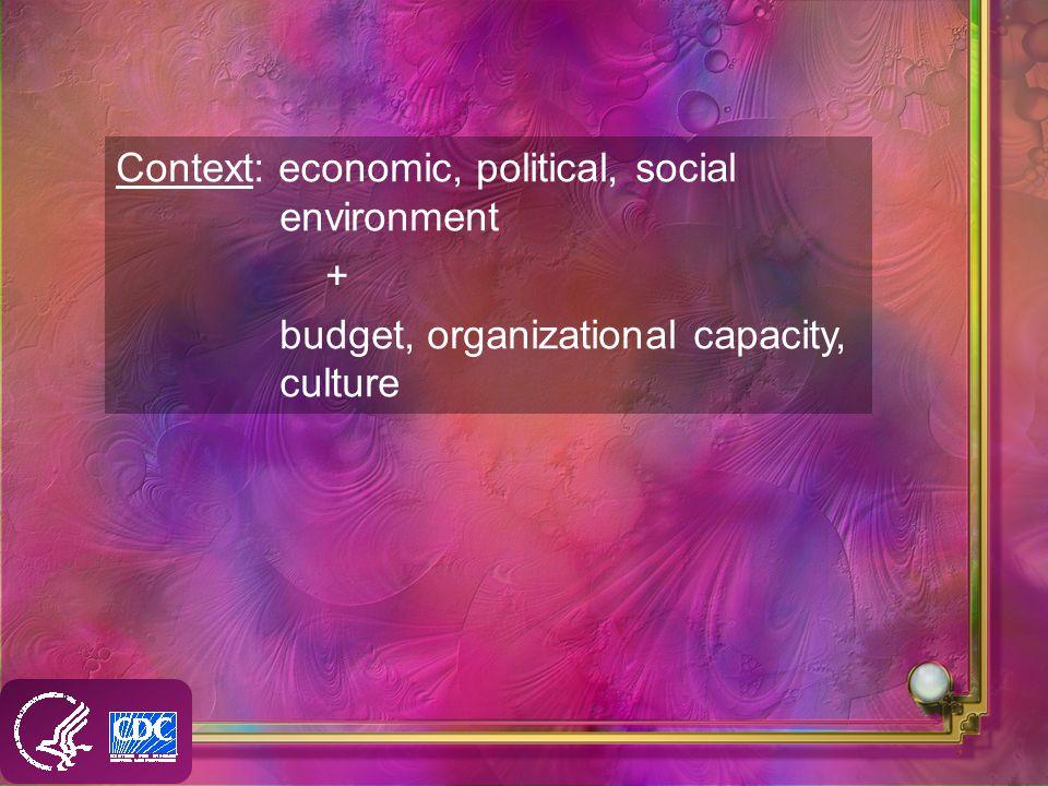 Context: economic, political, social environment + budget, organizational capacity, culture
