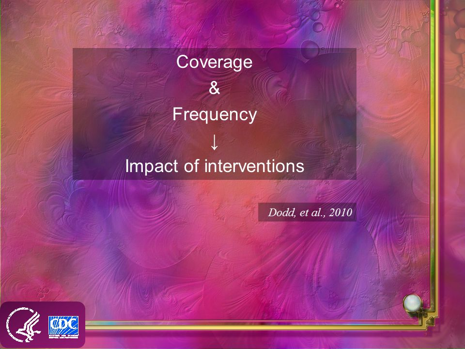 Coverage & Frequency Impact of interventions Dodd, et al., 2010