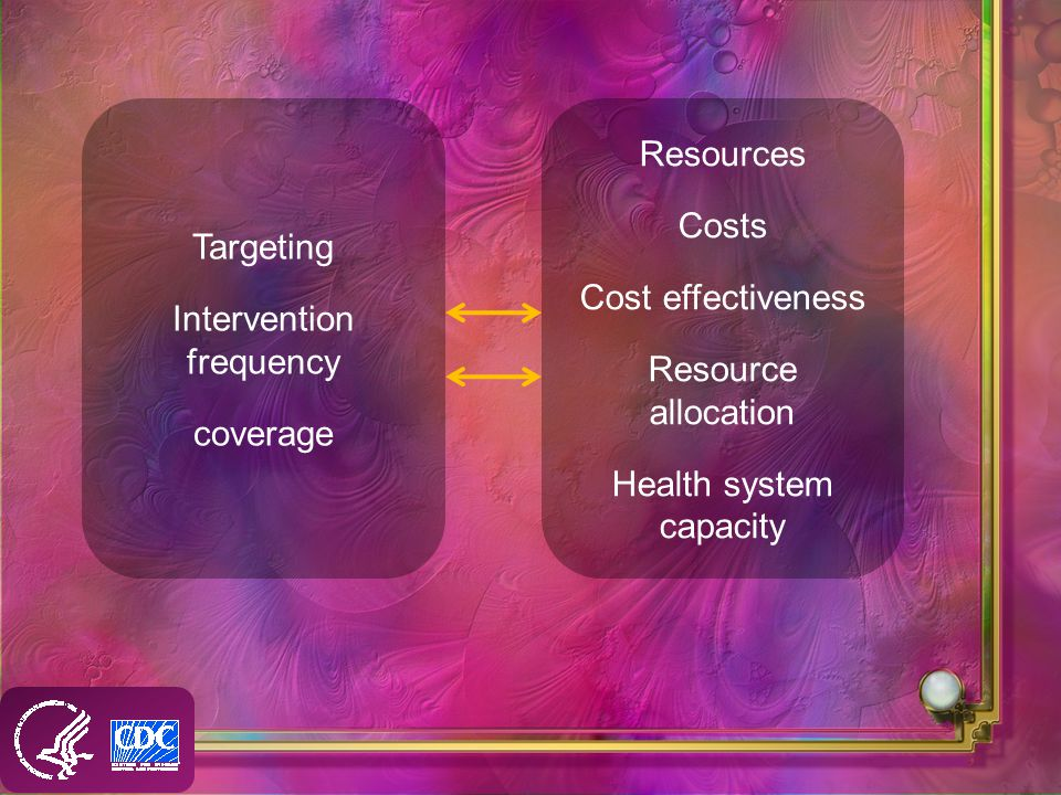 Targeting Intervention frequency coverage Resources Costs Cost effectiveness Resource allocation Health system capacity