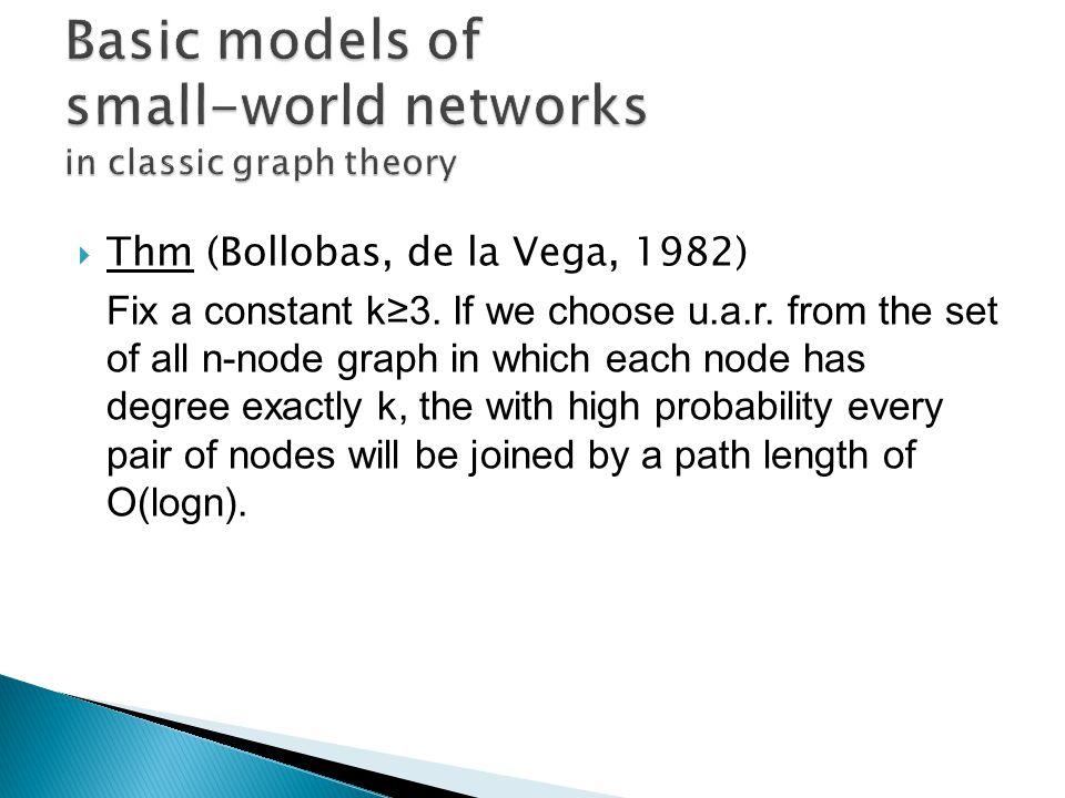 Thm (Bollobas, de la Vega, 1982) Fix a constant k3.