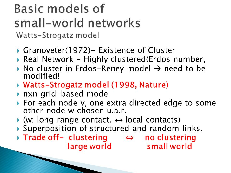 Granoveter(1972)- Existence of Cluster Real Network – Highly clustered(Erdos number, No cluster in Erdos-Reney model need to be modified.