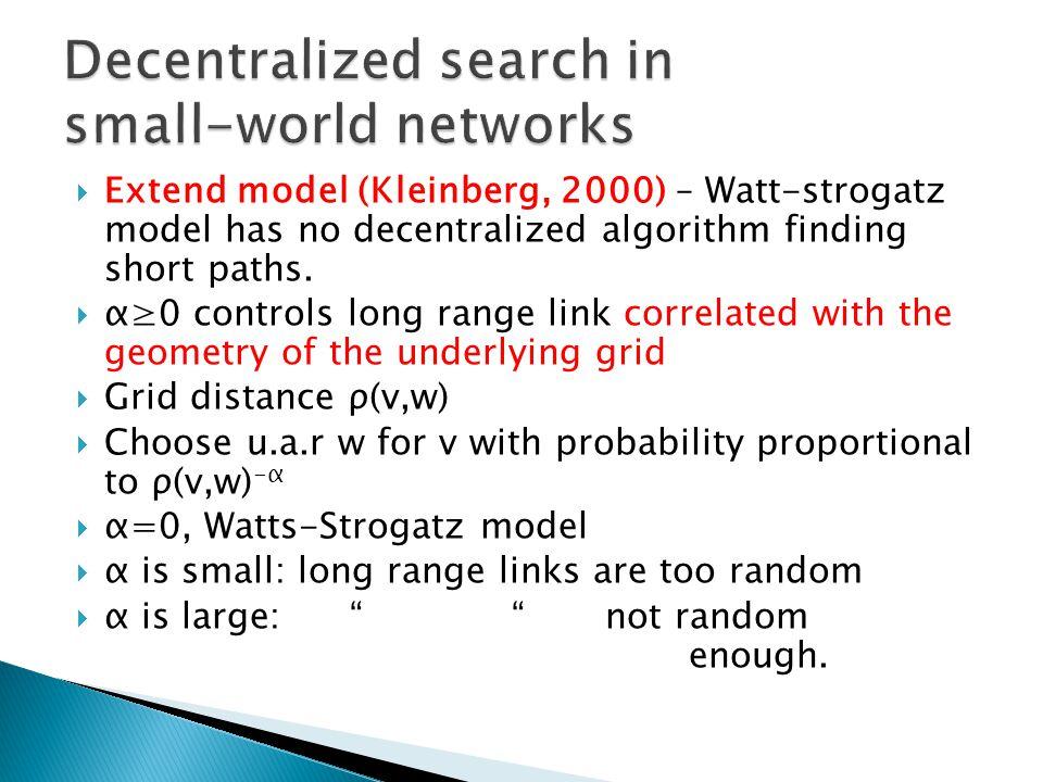 Extend model (Kleinberg, 2000) – Watt-strogatz model has no decentralized algorithm finding short paths.