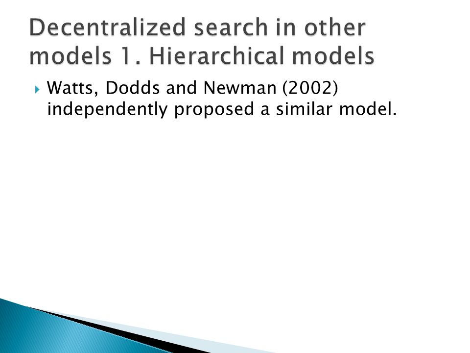 Watts, Dodds and Newman (2002) independently proposed a similar model.