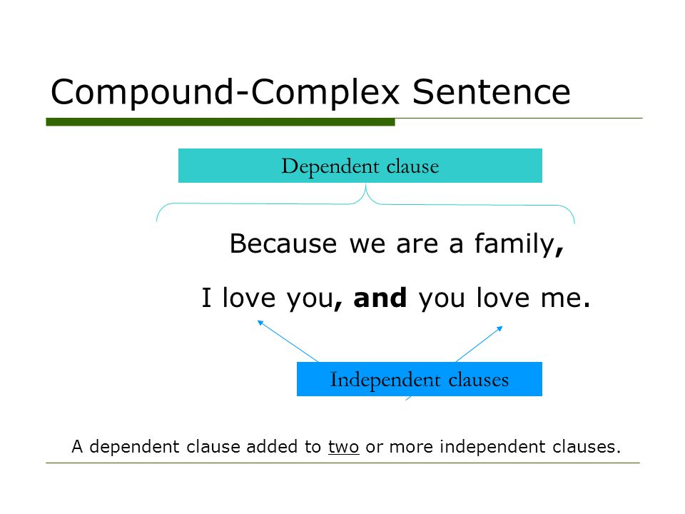 A dependent clause added to two or more independent clauses. Because we are a family, I love you, and you love me. Independent clauses Dependent claus