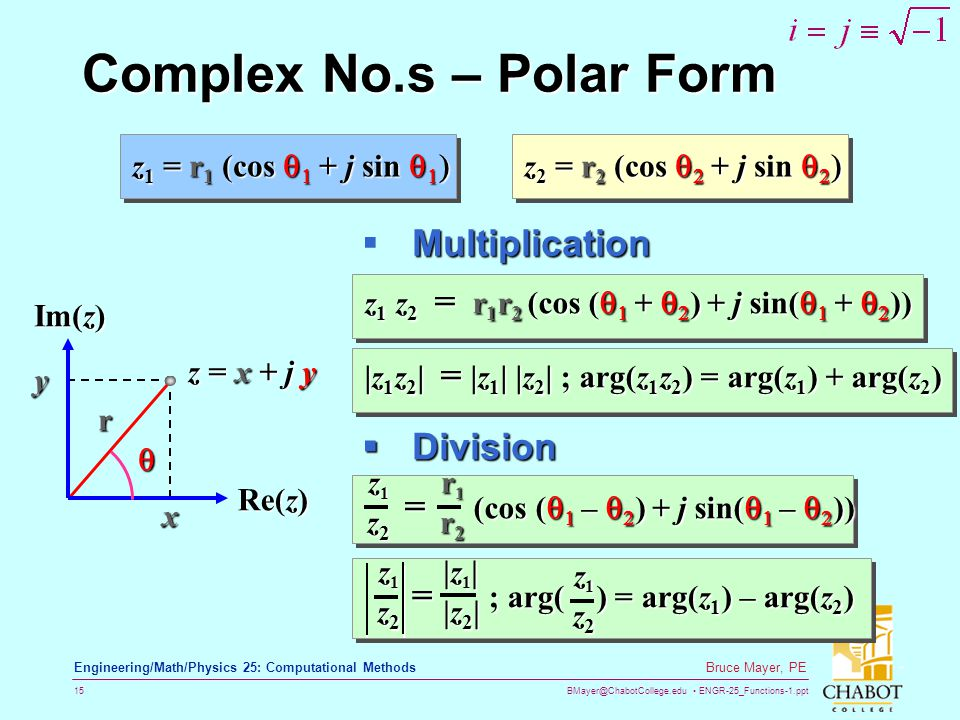BMayer@ChabotCollege.edu ENGR-25_Functions-1.ppt 15 Bruce Mayer, PE Engineering/Math/Physics 25: Computational Methods Complex No.s – Polar Form z 1 =