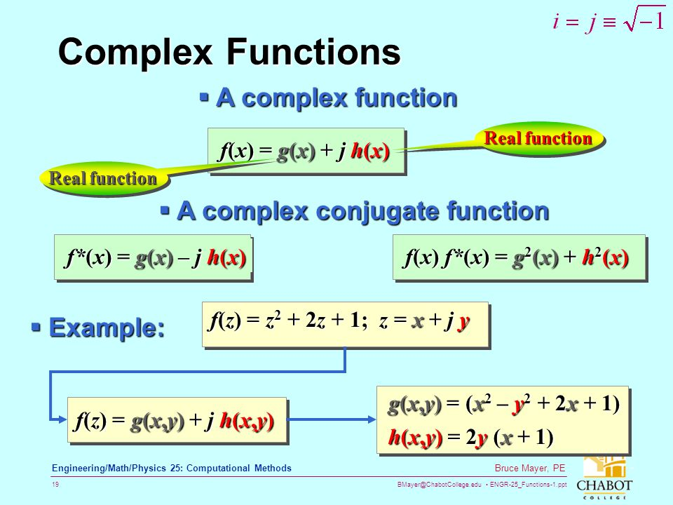 BMayer@ChabotCollege.edu ENGR-25_Functions-1.ppt 19 Bruce Mayer, PE Engineering/Math/Physics 25: Computational Methods Complex Functions f(x) = g(x) +