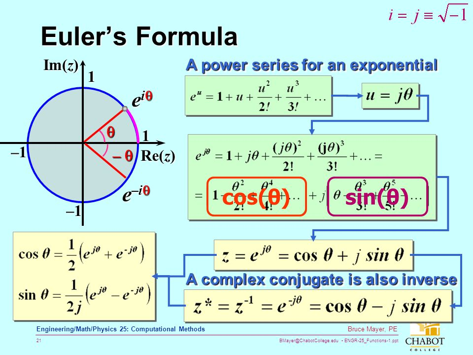 BMayer@ChabotCollege.edu ENGR-25_Functions-1.ppt 21 Bruce Mayer, PE Engineering/Math/Physics 25: Computational Methods Eulers Formula A complex conjug