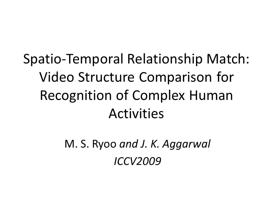 Spatio-Temporal Relationship Match: Video Structure Comparison for Recognition of Complex Human Activities M.