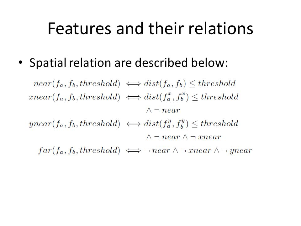 Features and their relations Spatial relation are described below: