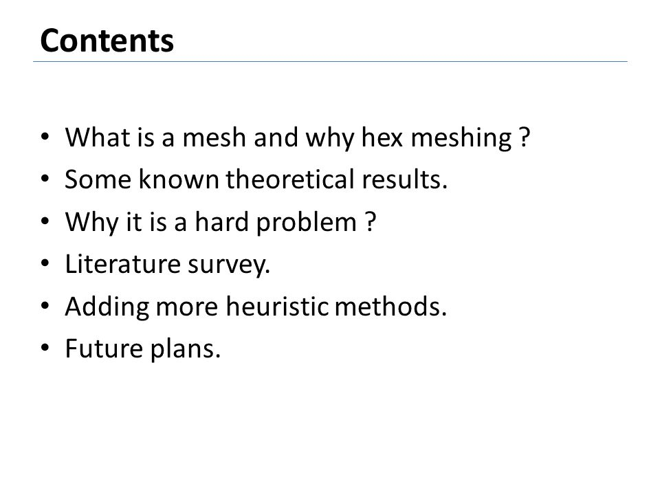 Why hex meshing is hard .