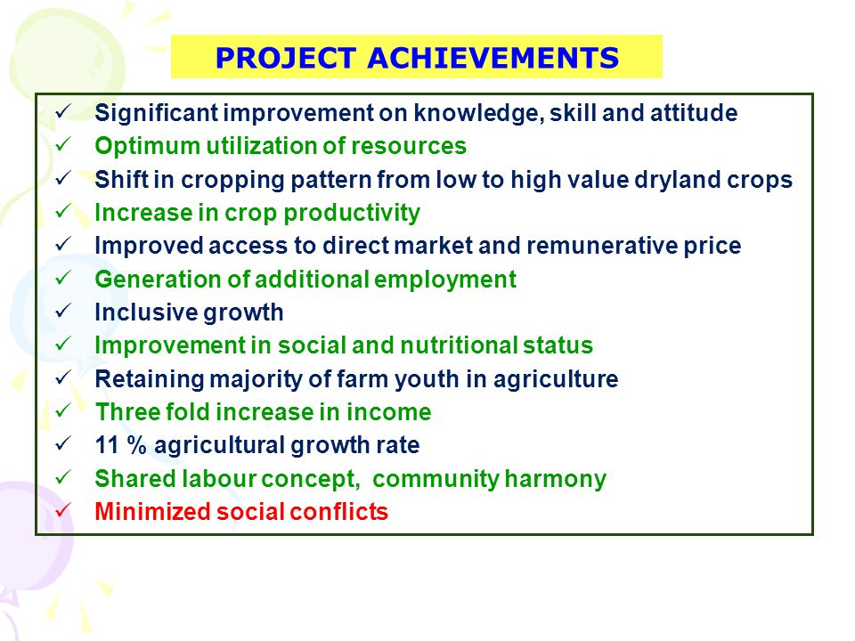 PROJECT ACHIEVEMENTS Significant improvement on knowledge, skill and attitude Optimum utilization of resources Shift in cropping pattern from low to high value dryland crops Increase in crop productivity Improved access to direct market and remunerative price Generation of additional employment Inclusive growth Improvement in social and nutritional status Retaining majority of farm youth in agriculture Three fold increase in income 11 % agricultural growth rate Shared labour concept, community harmony Minimized social conflicts