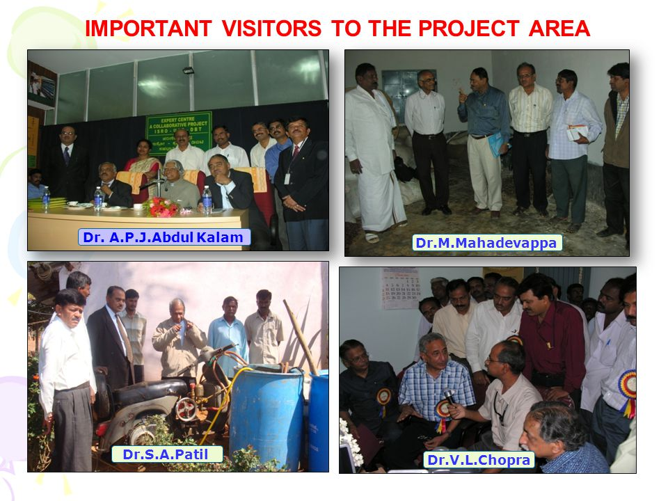 IMPORTANT VISITORS TO THE PROJECT AREA Dr.