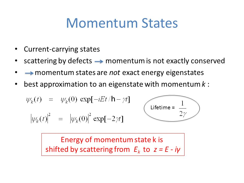 Momentum States Current-carrying states scattering by defects momentum is not exactly conserved momentum states are not exact energy eigenstates best approximation to an eigenstate with momentum k : Lifetime = Energy of momentum state k is shifted by scattering from E k to z = E - iγ