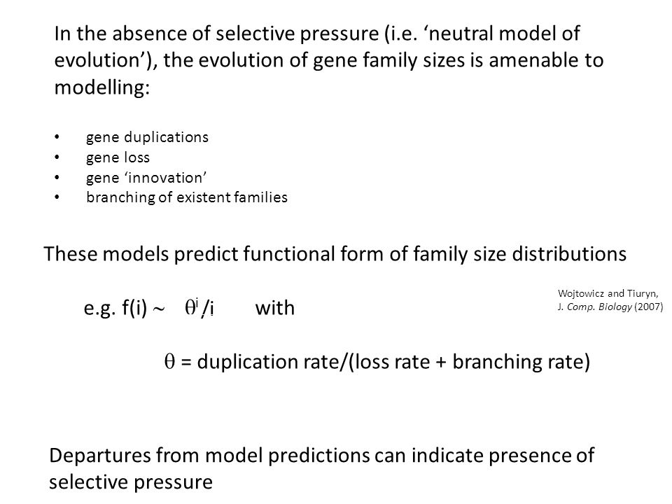 In the absence of selective pressure (i.e. neutral model of evolution), the evolution of gene family sizes is amenable to modelling: gene duplications