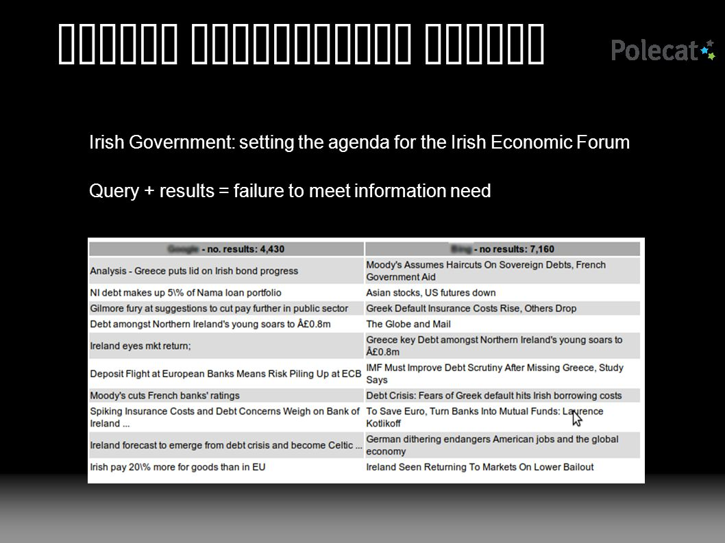 Beyond traditional search Irish Government: setting the agenda for the Irish Economic Forum Query + results = failure to meet information need