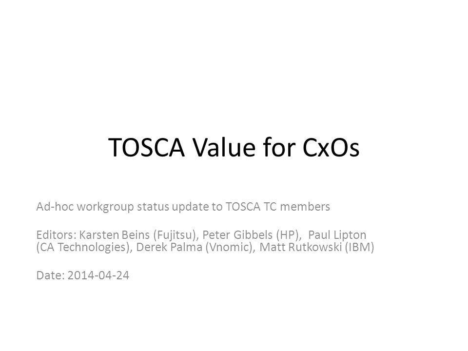TOSCA Value for CxOs Ad-hoc workgroup status update to TOSCA TC members Editors: Karsten Beins (Fujitsu), Peter Gibbels (HP), Paul Lipton (CA Technologies), Derek Palma (Vnomic), Matt Rutkowski (IBM) Date: 2014-04-24