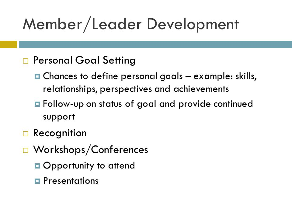 Member/Leader Development Personal Goal Setting Chances to define personal goals – example: skills, relationships, perspectives and achievements Follow-up on status of goal and provide continued support Recognition Workshops/Conferences Opportunity to attend Presentations
