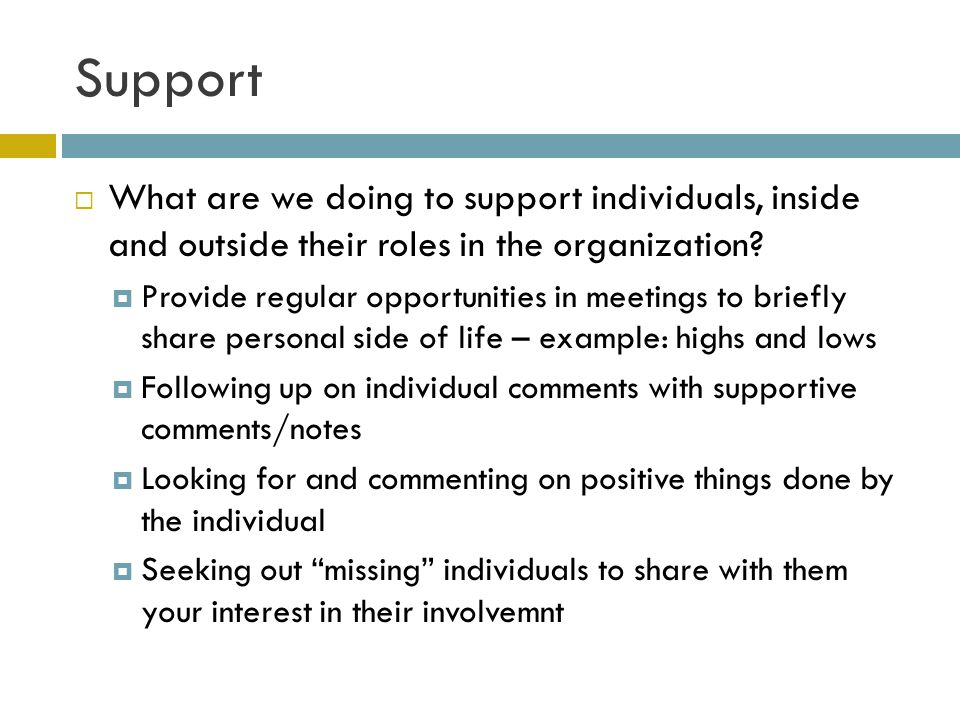 Support What are we doing to support individuals, inside and outside their roles in the organization.
