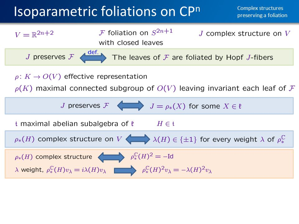 Isoparametric foliations on CP n Complex structures preserving a foliation