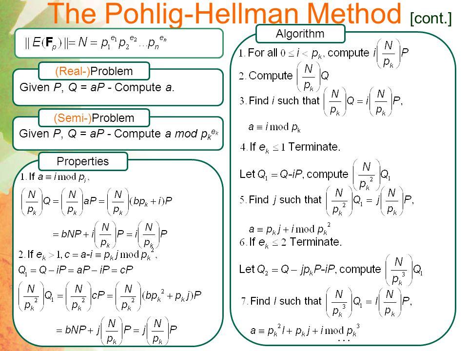 The Pohlig-Hellman Method [cont.] Algorithm Given P, Q = aP - Compute a mod p k e k