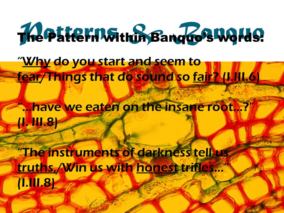 Patterns & Banquo The Pattern within Banquos words: Why do you start and seem to fear/Things that do sound so fair.