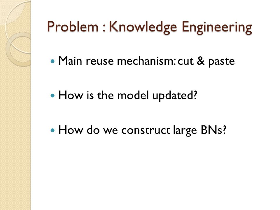 Problem : Knowledge Engineering Main reuse mechanism: cut & paste How is the model updated.