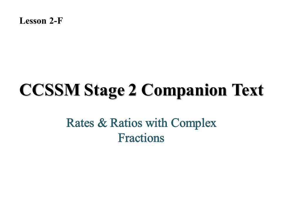 CCSSM Stage 2 Companion Text Lesson 2-F
