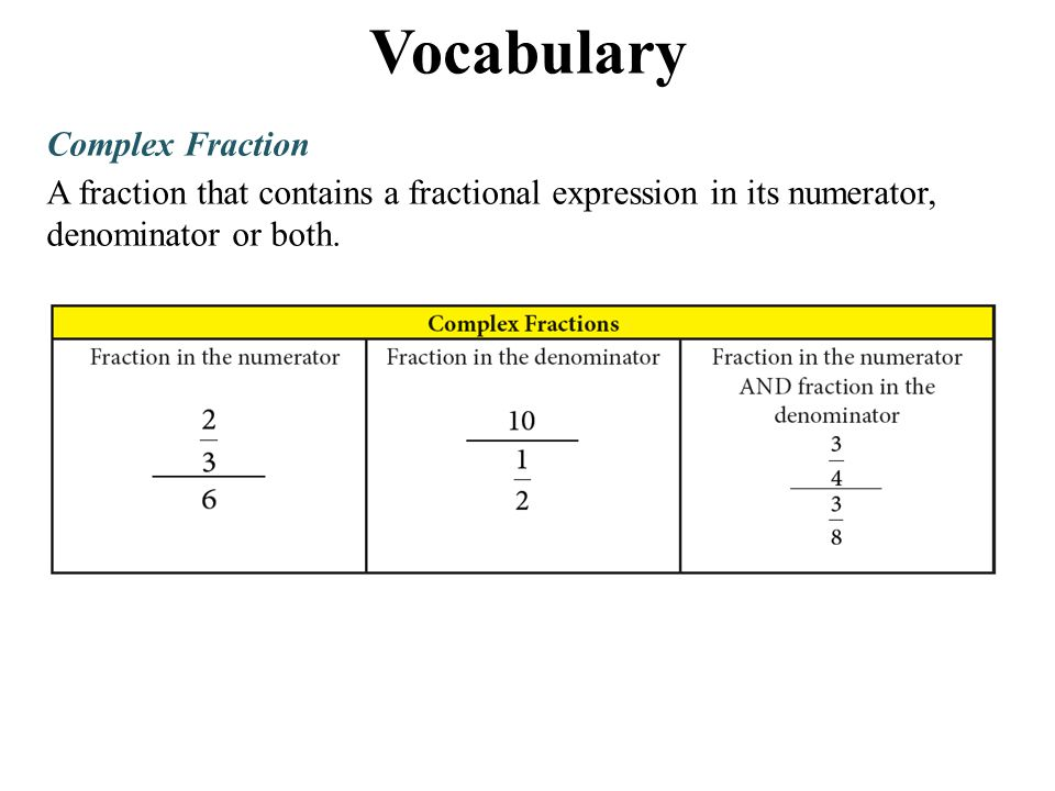 Vocabulary Complex Fraction A fraction that contains a fractional expression in its numerator, denominator or both.
