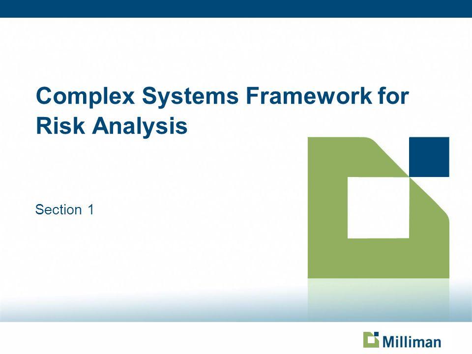 Complex Systems Framework for Risk Analysis Section 1