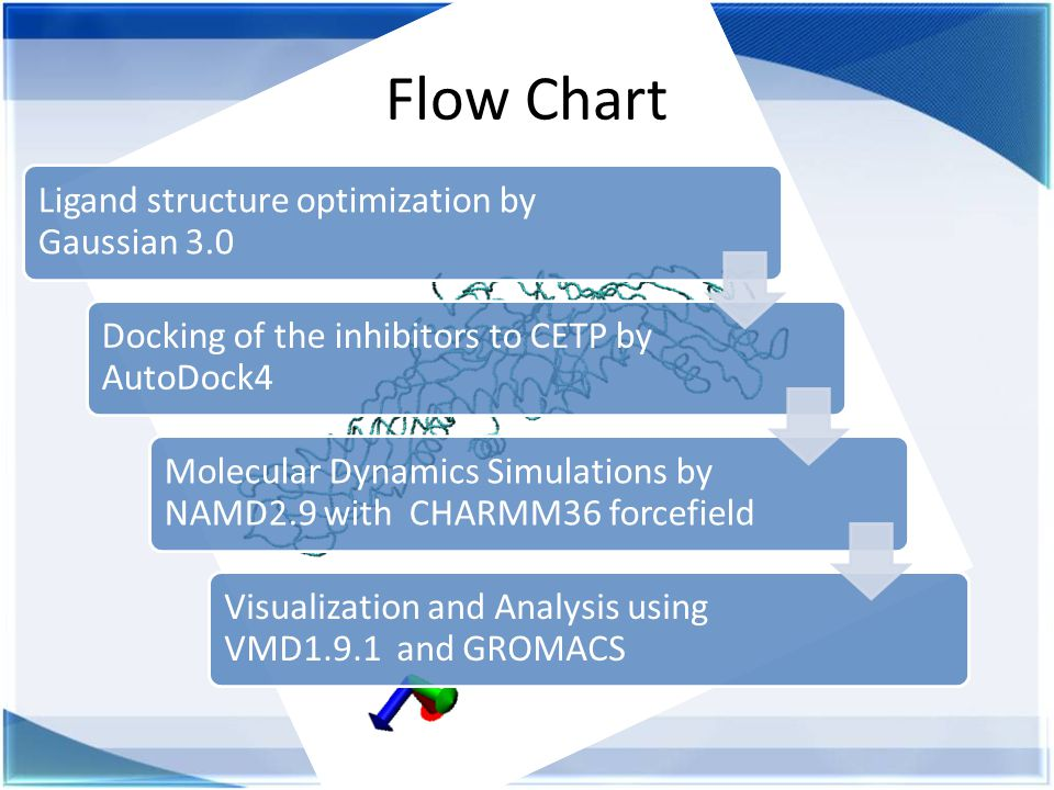Flow Chart Ligand structure optimization by Gaussian 3.0 Docking of the inhibitors to CETP by AutoDock4 Molecular Dynamics Simulations by NAMD2.9 with