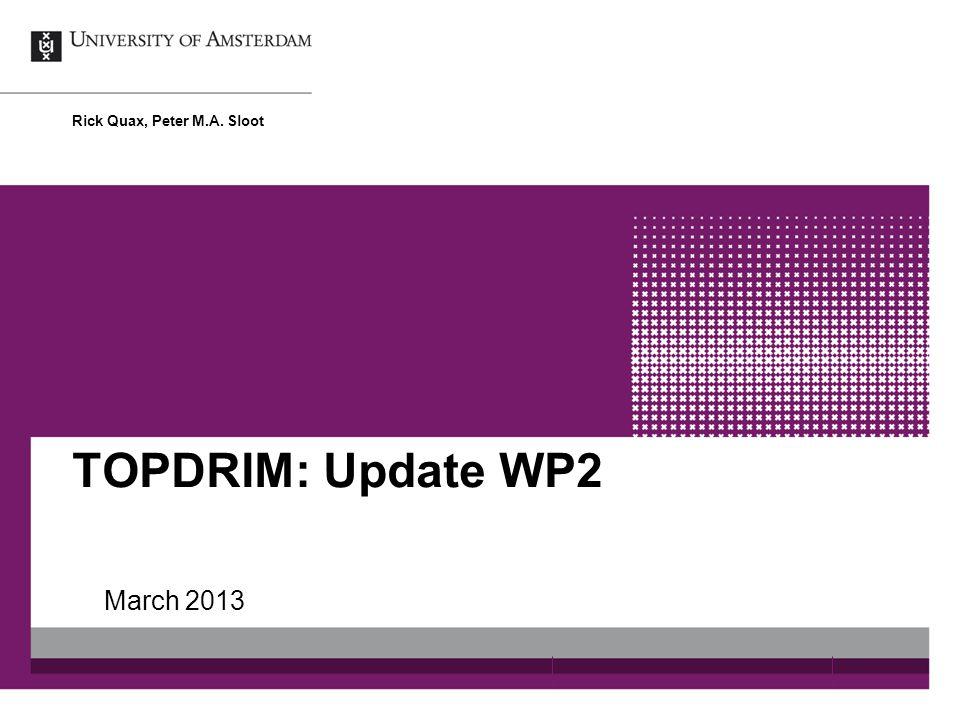 TOPDRIM: Update WP2 March 2013 Rick Quax, Peter M.A. Sloot