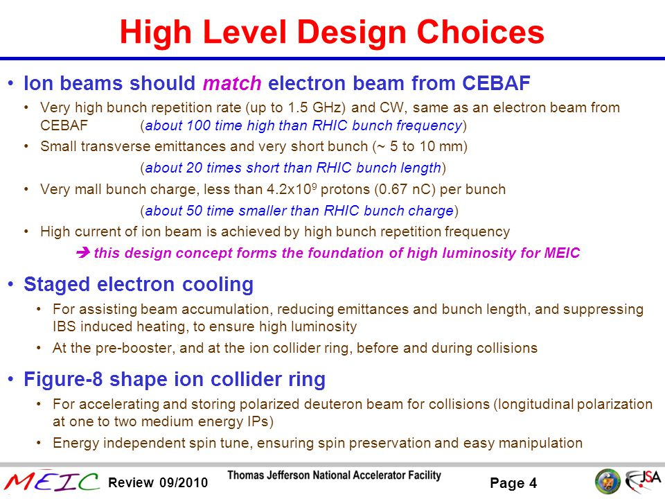 Page 5 Review 09/2010 Technical Design Choice No crossing of transition energies for any ion species during acceleration in any ring of ion complex Ion linac for fast acceleration after ion sources for suppressing space charge effect at very low energy Superconducting magnets for a compact collider ring, for small Laslett tune-shift (so higher ion current) and lower civil engineering cost (peak field less than 6 T)