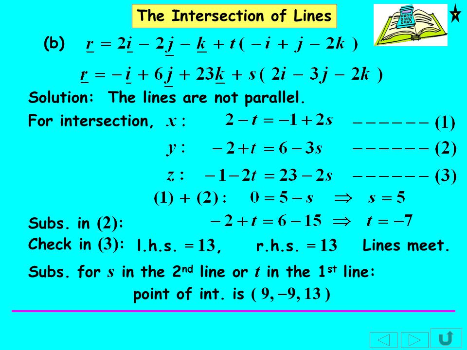 The Intersection of Lines (c) The line AB and the line CD where Solution: For AB,For CD, The lines are parallel.