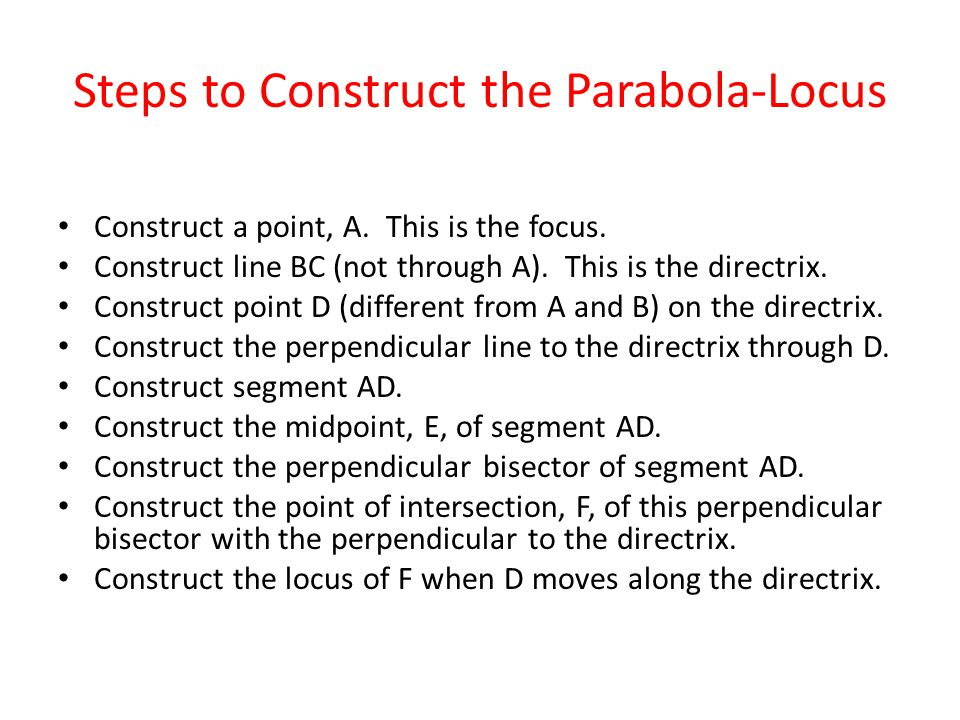 Steps to Construct the Parabola-Locus Construct a point, A.