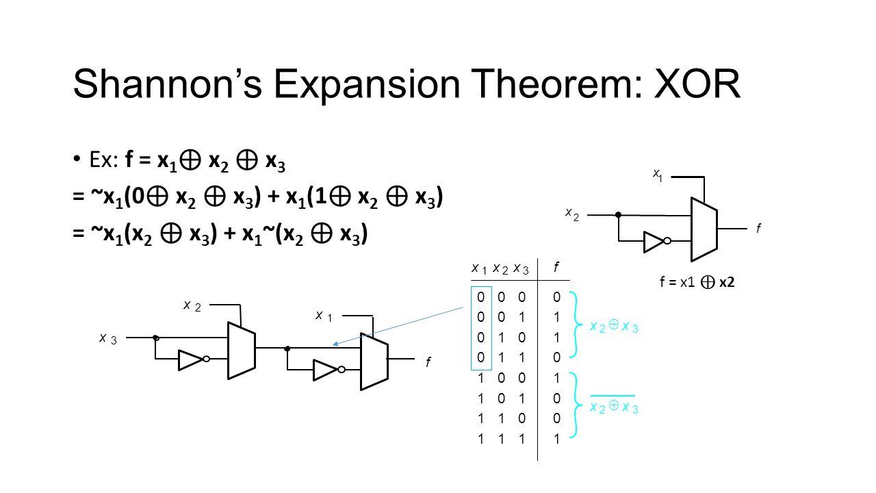 Shannons Expansion Theorem: XOR Ex: f = x 1 x 2 x 3 = ~x 1 (0 x 2 x 3 ) + x 1 (1 x 2 x 3 ) = ~x 1 (x 2 x 3 ) + x 1 ~(x 2 x 3 ) f x 2 x 1 f = x1 x2 f x 3 x 1 x 2 00 01 10 11 0 1 1 0 00 01 10 11 1 0 0 1 x 1 x 2 x 3 f 0 0 0 0 1 1 1 1 x 2 x 3 x 2 x 3