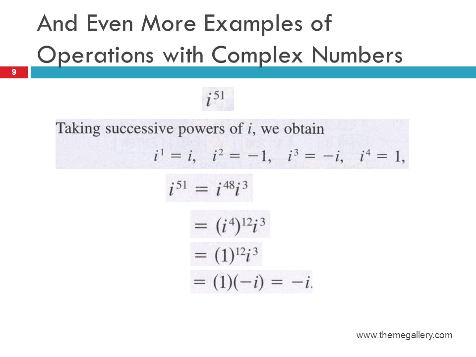 Quotients of Complex Numbers Solve as you would with a radical in the denominator Multiply by a quotient which simplifies to 1 and whose denominator when multiplied by the denominator of the original problem creates a real number In the case of a polynomial, multiply the conjugate (i.e.
