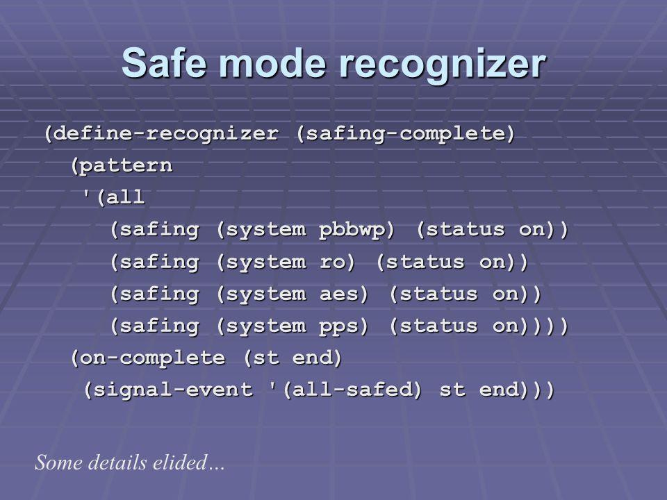 Safe mode recognizer (define-recognizer (safing-complete) (pattern (pattern (all (all (safing (system pbbwp) (status on)) (safing (system pbbwp) (status on)) (safing (system ro) (status on)) (safing (system ro) (status on)) (safing (system aes) (status on)) (safing (system aes) (status on)) (safing (system pps) (status on)))) (safing (system pps) (status on)))) (on-complete (st end) (on-complete (st end) (signal-event (all-safed) st end))) (signal-event (all-safed) st end))) Some details elided…