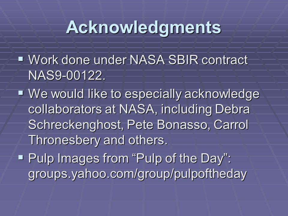 Acknowledgments Work done under NASA SBIR contract NAS9-00122.
