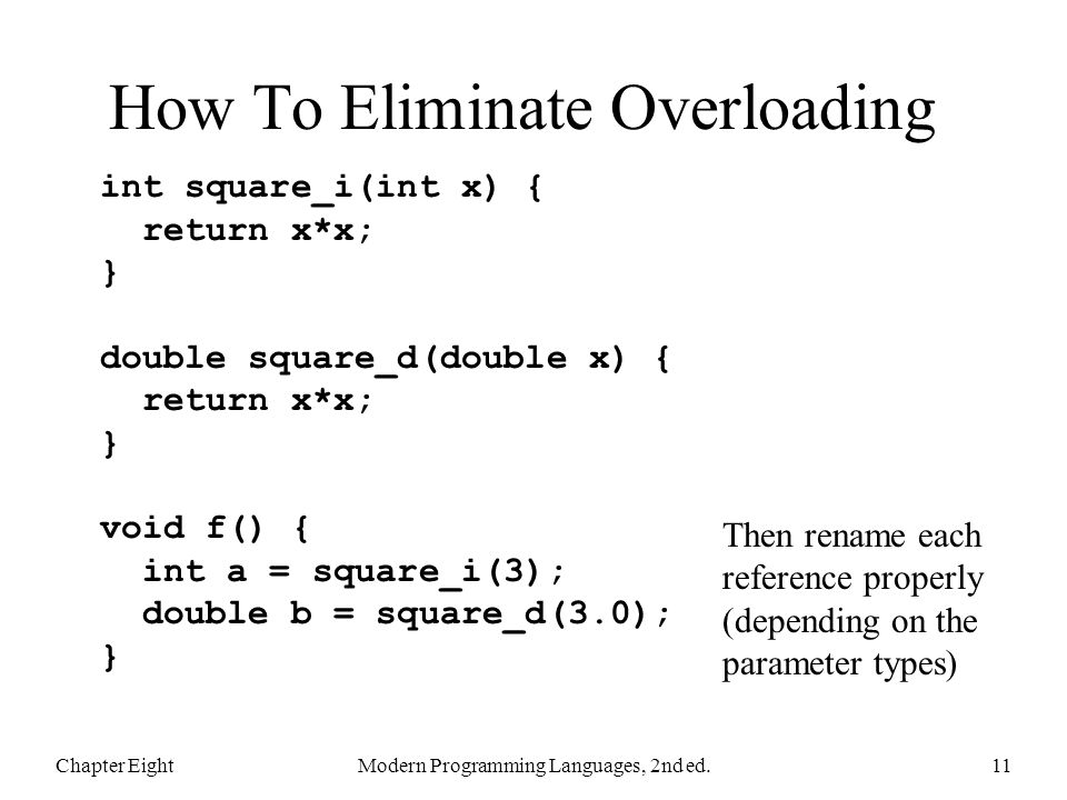 How To Eliminate Overloading Chapter EightModern Programming Languages, 2nd ed.11 int square_i(int x) { return x*x; } double square_d(double x) { return x*x; } void f() { int a = square_i(3); double b = square_d(3.0); } Then rename each reference properly (depending on the parameter types)