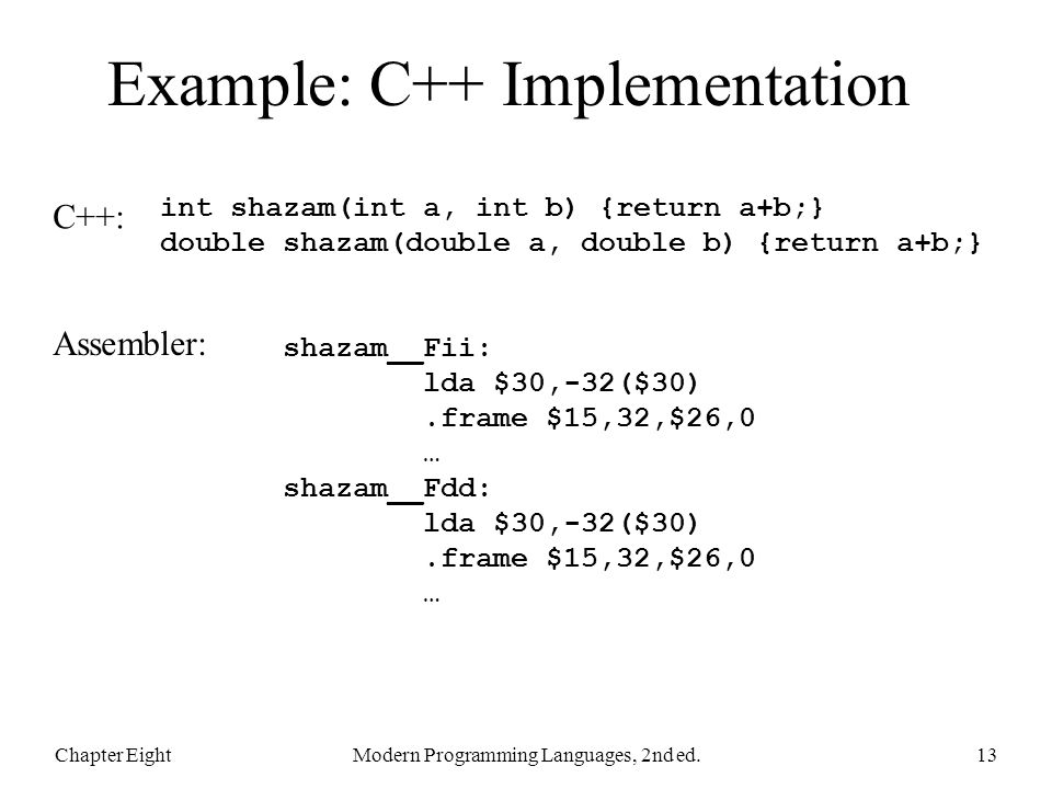 Example: C++ Implementation Chapter EightModern Programming Languages, 2nd ed.13 int shazam(int a, int b) {return a+b;} double shazam(double a, double b) {return a+b;} shazam__Fii: lda $30,-32($30).frame $15,32,$26,0 … shazam__Fdd: lda $30,-32($30).frame $15,32,$26,0 … C++: Assembler: