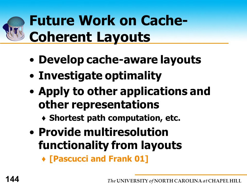 The UNIVERSITY of NORTH CAROLINA at CHAPEL HILL 144 Future Work on Cache- Coherent Layouts Develop cache-aware layouts Investigate optimality Apply to other applications and other representations Shortest path computation, etc.