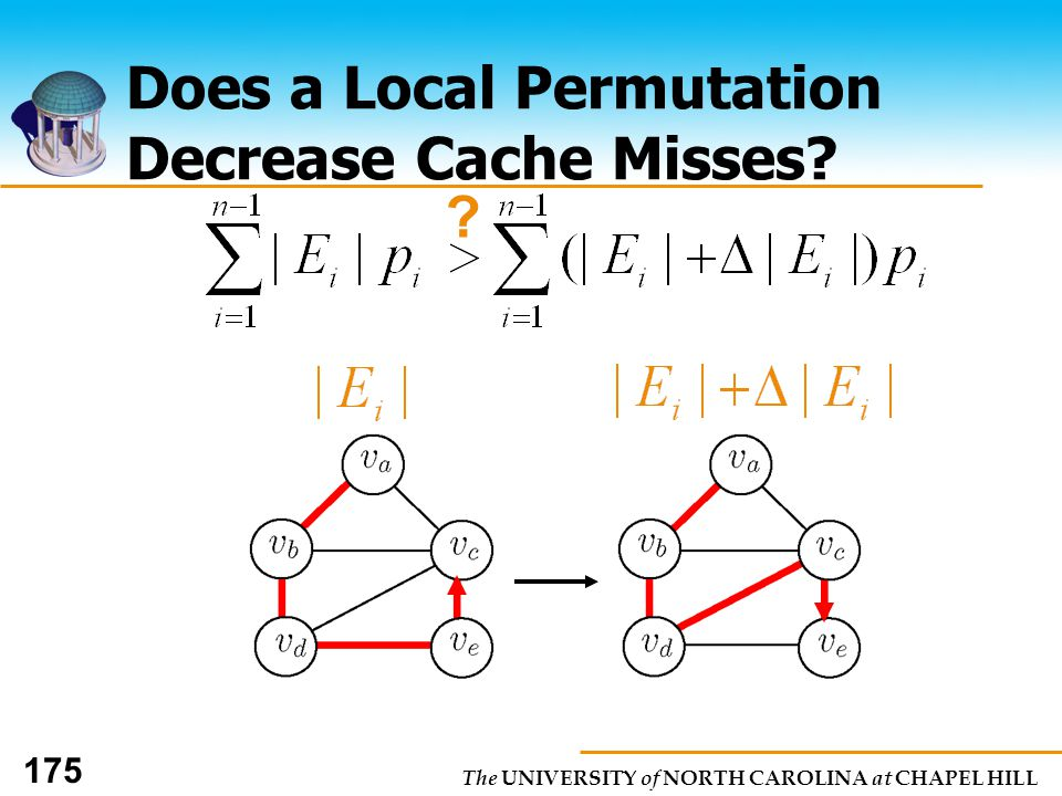 The UNIVERSITY of NORTH CAROLINA at CHAPEL HILL 175 Does a Local Permutation Decrease Cache Misses.