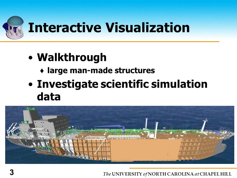 The UNIVERSITY of NORTH CAROLINA at CHAPEL HILL 3 Interactive Visualization Walkthrough large man-made structures Investigate scientific simulation data