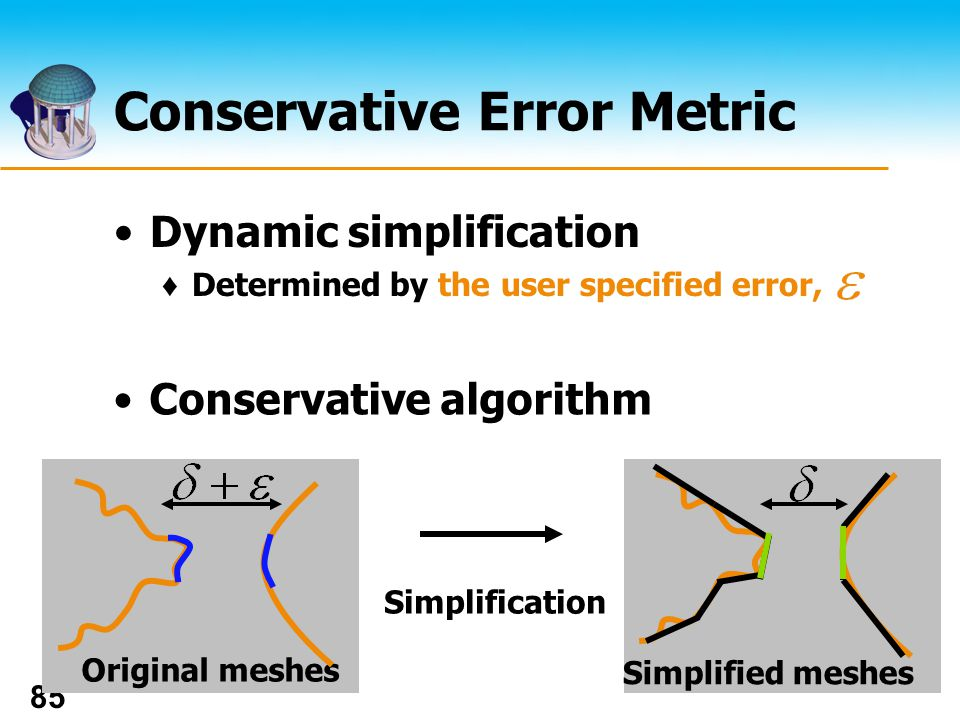 The UNIVERSITY of NORTH CAROLINA at CHAPEL HILL 85 Conservative Error Metric Dynamic simplification Determined by the user specified error, Original meshes Simplified meshes Simplification Conservative algorithm