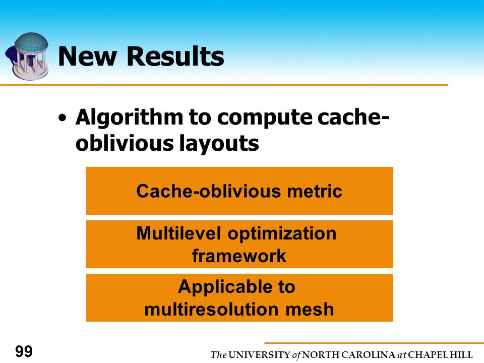 The UNIVERSITY of NORTH CAROLINA at CHAPEL HILL 99 New Results Algorithm to compute cache- oblivious layouts Cache-oblivious metric Multilevel optimization framework Applicable to multiresolution mesh