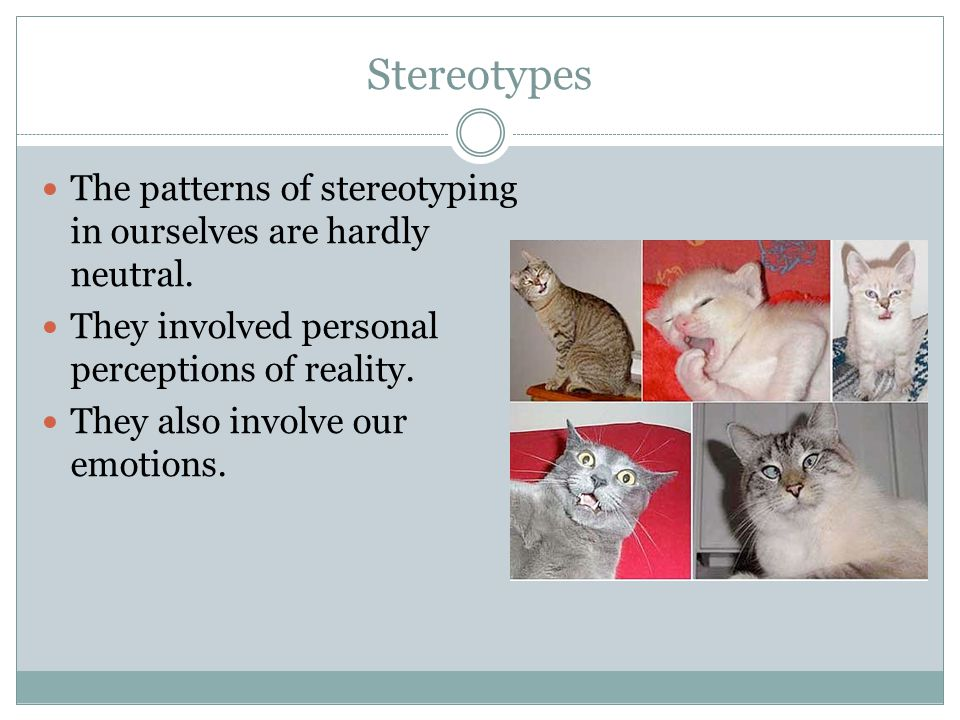 Stereotypes The patterns of stereotyping in ourselves are hardly neutral. They involved personal perceptions of reality. They also involve our emotion