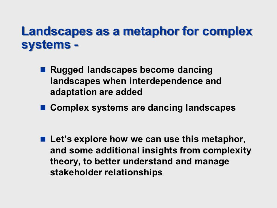 Landscapes as a metaphor for complex systems - Rugged landscapes become dancing landscapes when interdependence and adaptation are added Complex syste