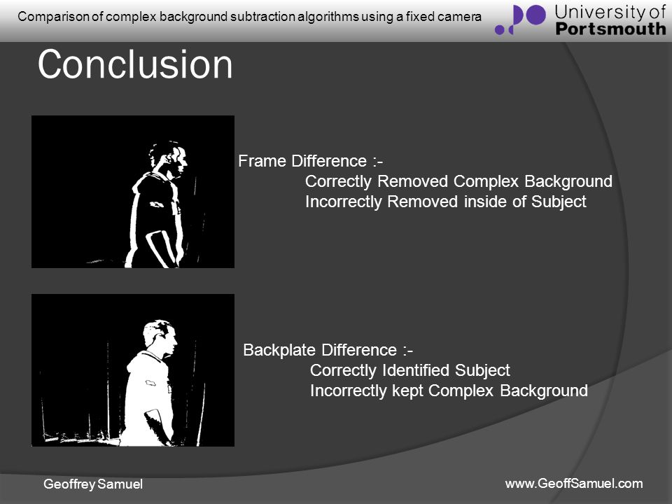 Geoffrey Samuel www.GeoffSamuel.com Comparison of complex background subtraction algorithms using a fixed camera Conclusion Frame Difference :- Correc